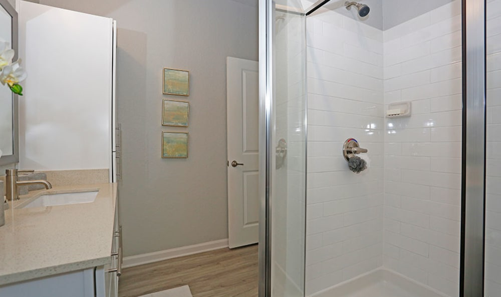 Bathroom with a stand-up shower at Vue at Belleair in Clearwater, Florida