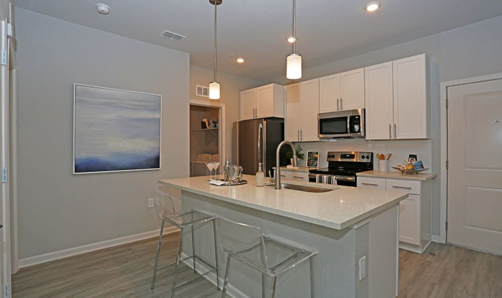 Contemporary kitchen with a breakfast bar at Vue at Belleair in Clearwater, Florida
