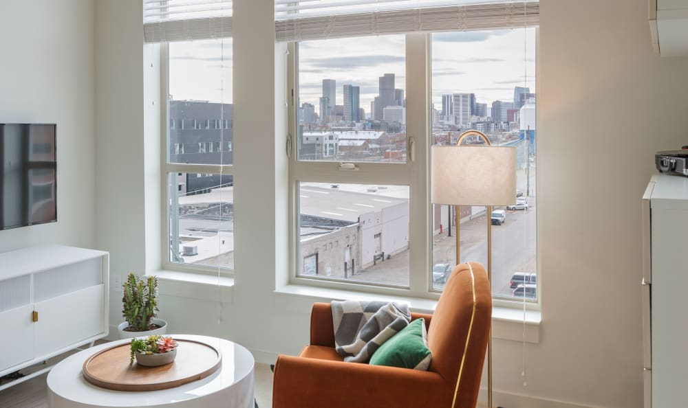 Bedroom with a grand view of the city at RiDE at RiNo in Denver, Colorado