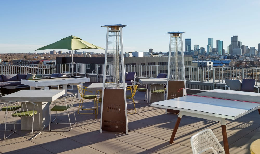 Rooftop deck with a ping pong table at RiDE at RiNo in Denver, Colorado