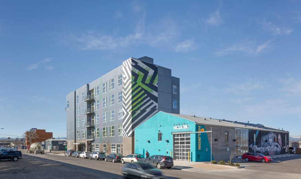 Exterior view of the building at RiDE at RiNo in Denver, Colorado