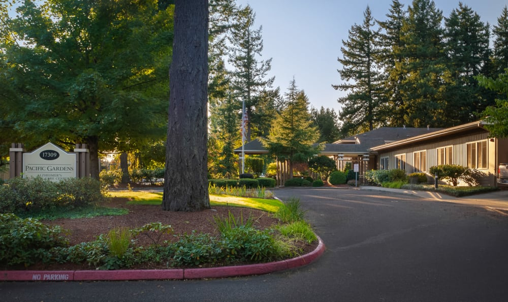 Front entrance at senior living facility in Portland, Oregon