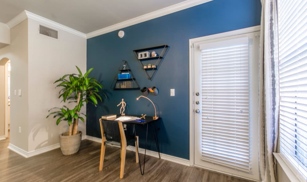 Desk corner in apartment at 2803 Riverside in Grand Prairie, Texas