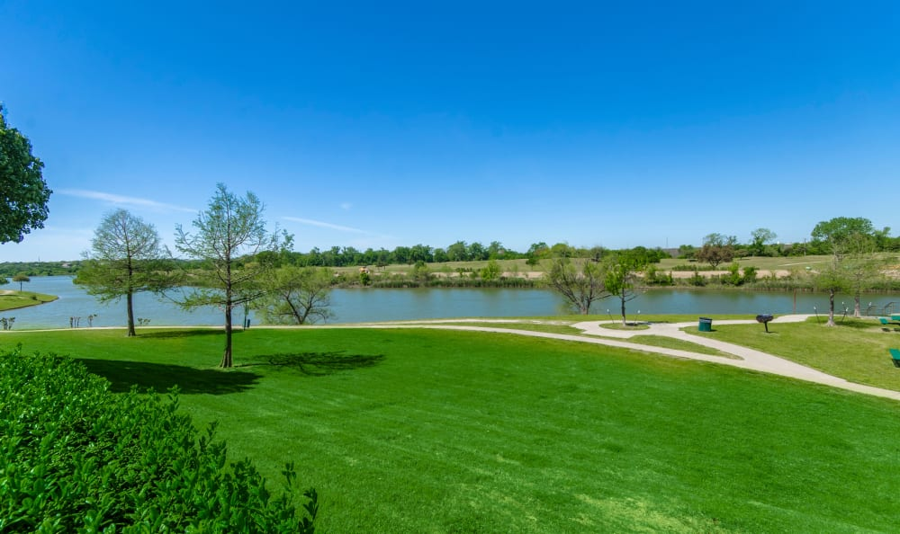 Walking paths along the river at 2803 Riverside in Grand Prairie, Texas