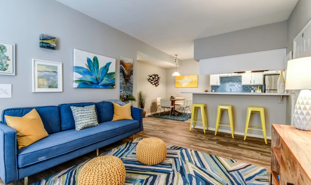 Open and bright living room at Azure Apartments in Corpus Christi, Texas