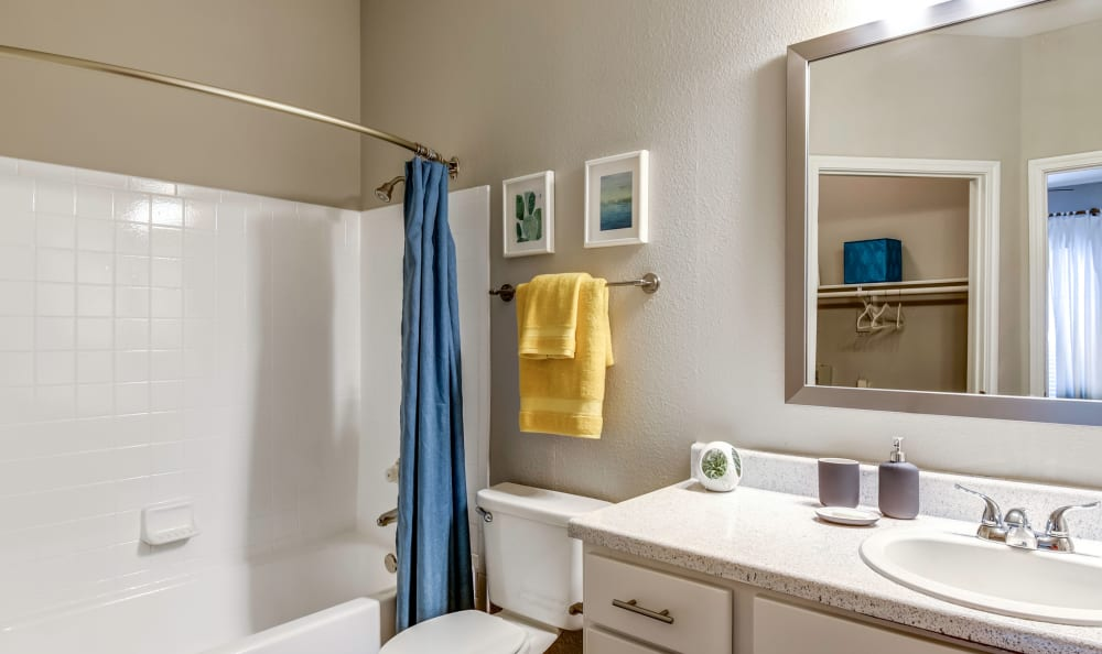 Updated bathroom at Azure Apartments in Corpus Christi, Texas