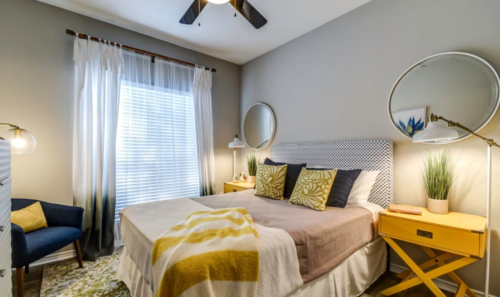 Spacious master bedroom at Azure Apartments in Corpus Christi, Texas