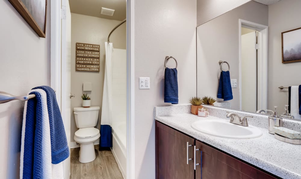 Spacious bathroom with a large vanity mirror at Mountain Vista in Lakewood, Colorado