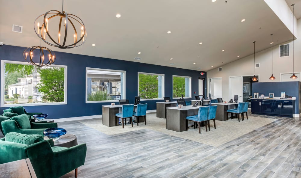 interior leasing office at The Woodlands Apartments in Sacramento,CA