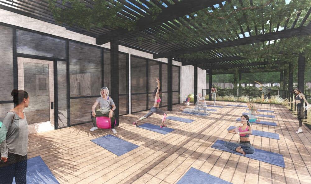 Yoga room rendering at Riata Austin in Austin, Texas