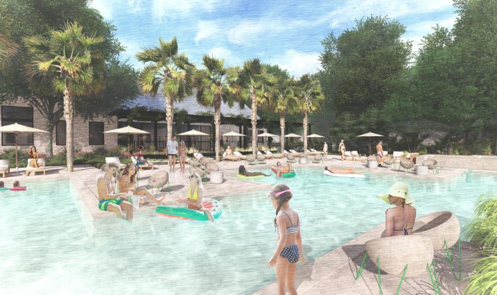 Sparking pool rendering at Riata Austin in Austin, Texas