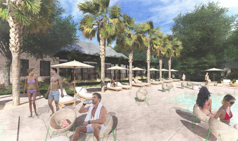 Poolside rendering at Riata Austin in Austin, Texas
