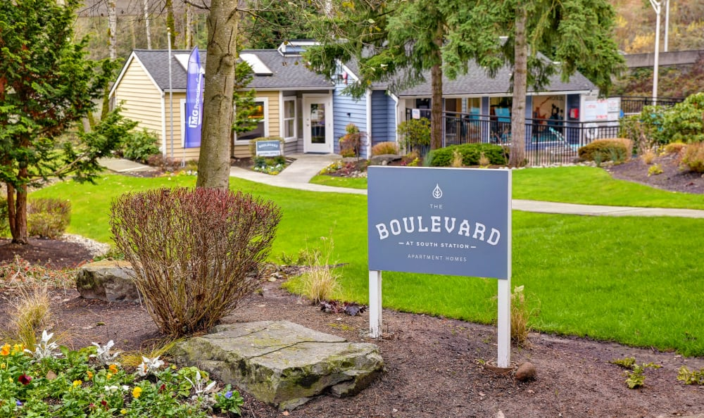 Sign at The Boulevard at South Station Apartment Homes in Tukwila, Washington
