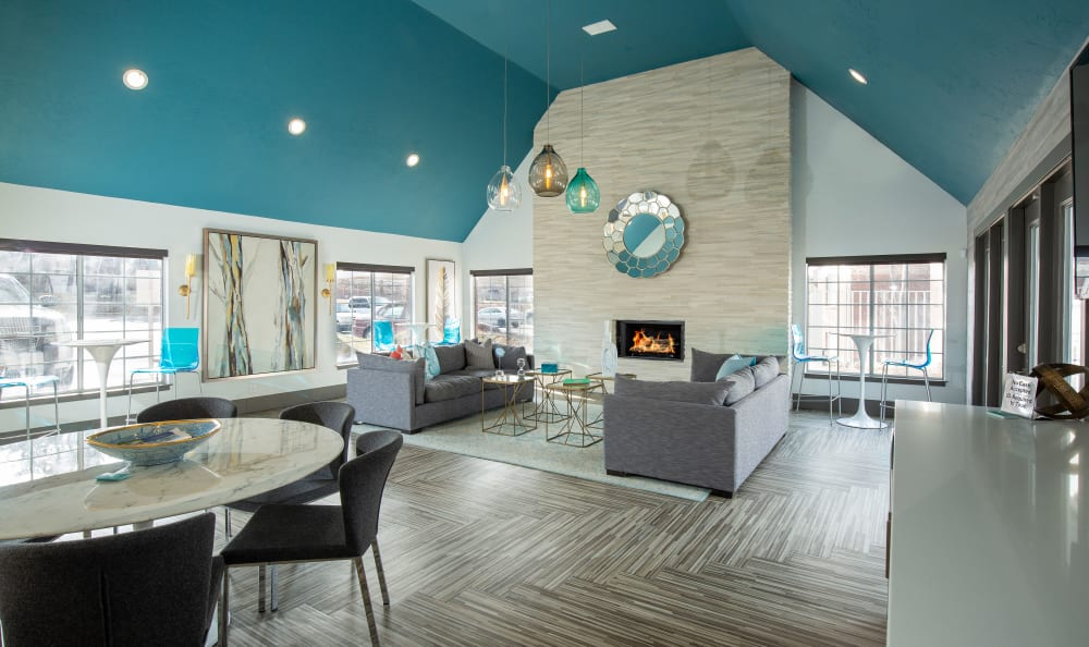 Clubhouse with lounge and fireplace at Windgate Apartments in Bountiful, Utah
