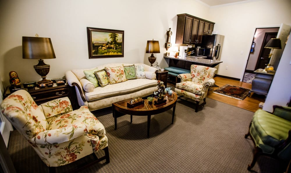 Living room of resident at The Lakes of Paducah in Paducah, Kentucky