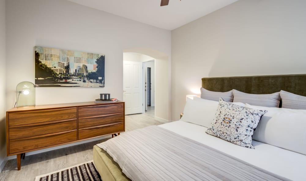 Urban modern bedroom at Riata Austin in Austin, Texas