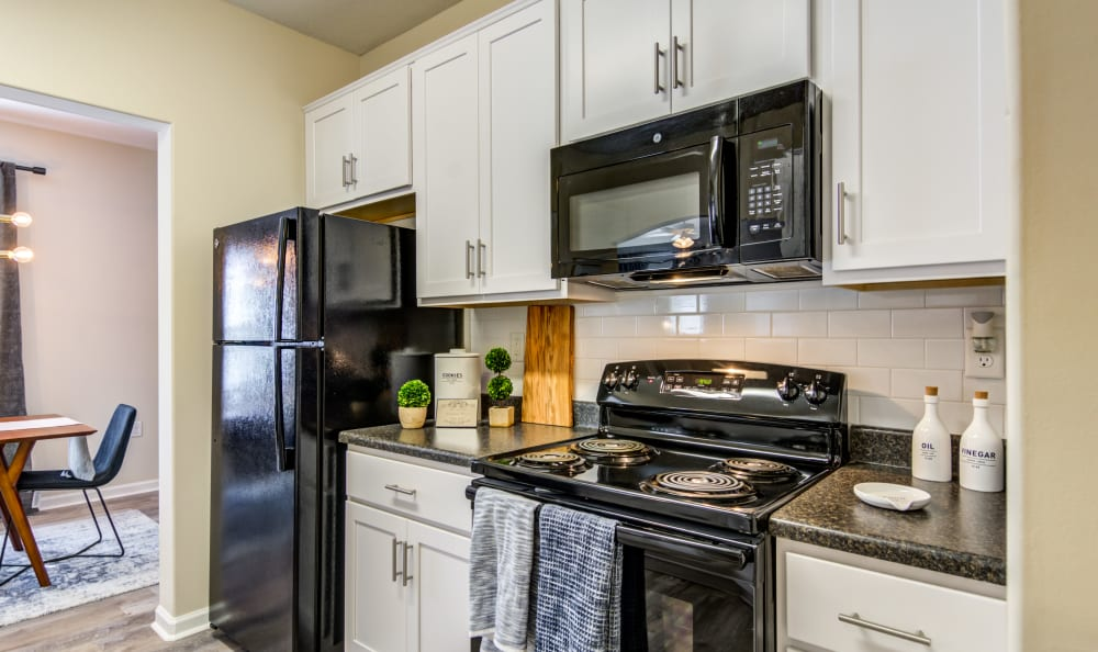 Kitchen with ample counter top space at Meridian Obici in Suffolk, Virginia