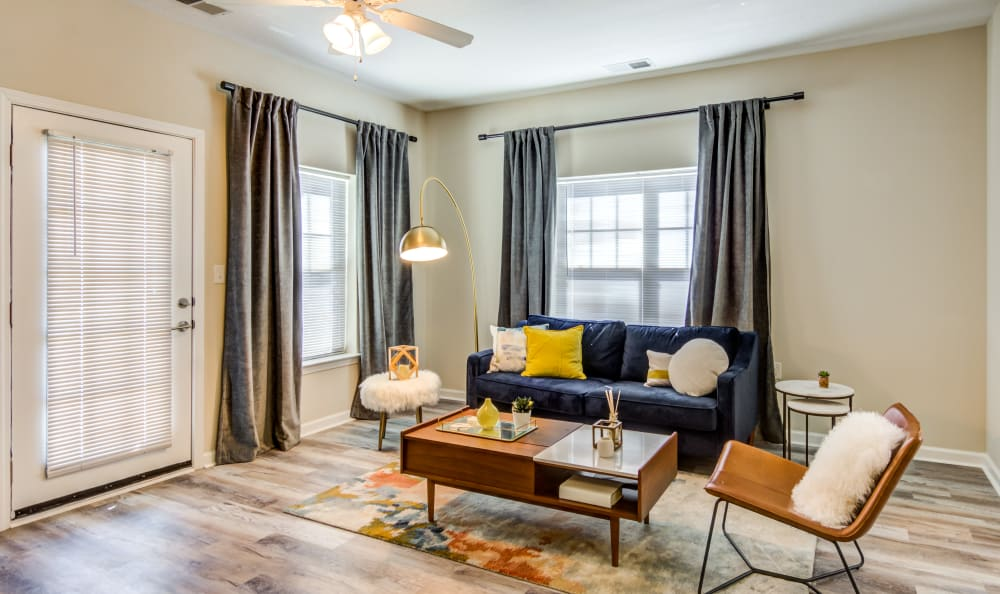 Spacious and comfortable living room at Meridian Obici in Suffolk, Virginia