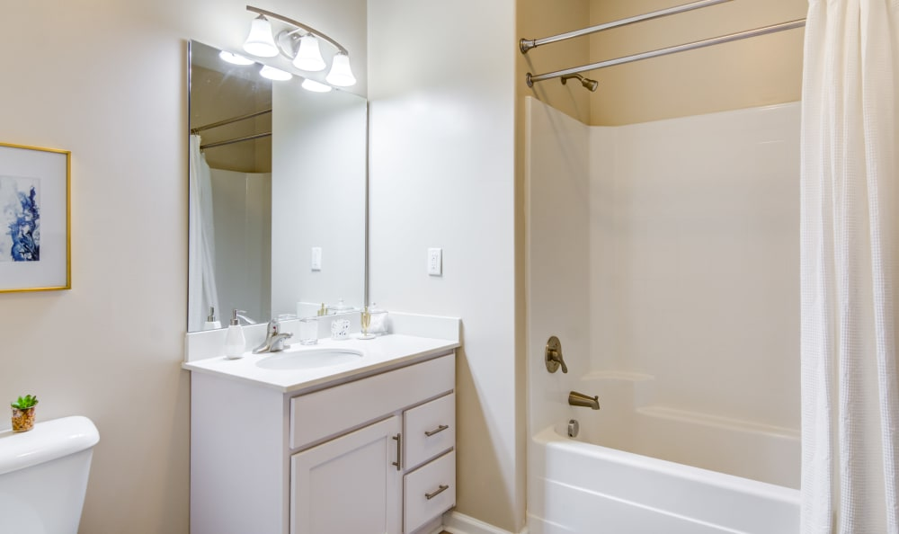 Bathroom with a oval tub and tiled shower at Meridian Obici in Suffolk, Virginia