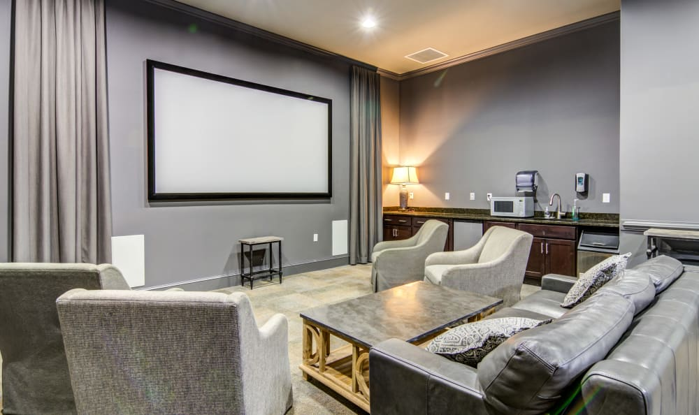 Community lounge area with a flat-screen TV at Meridian Obici in Suffolk, Virginia