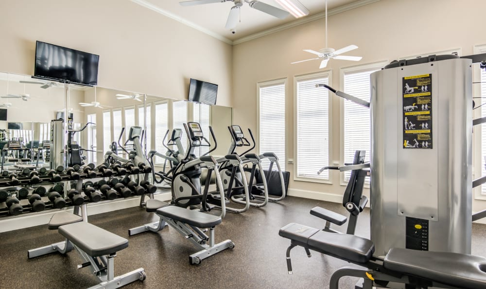 Fitness center at Meridian Obici in Suffolk, Virginia