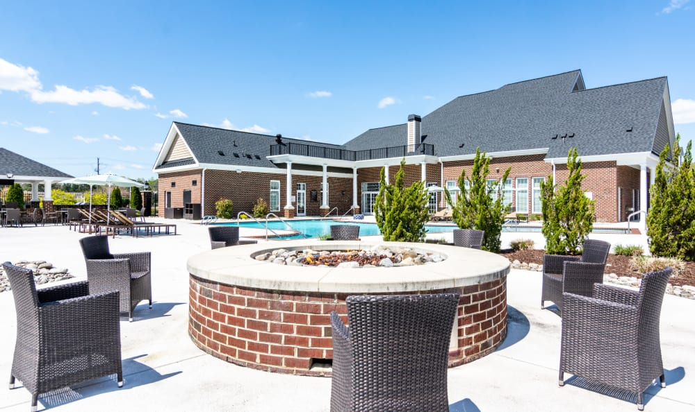 Poolside firepit for gathering with friends at Meridian Obici in Suffolk, Virginia