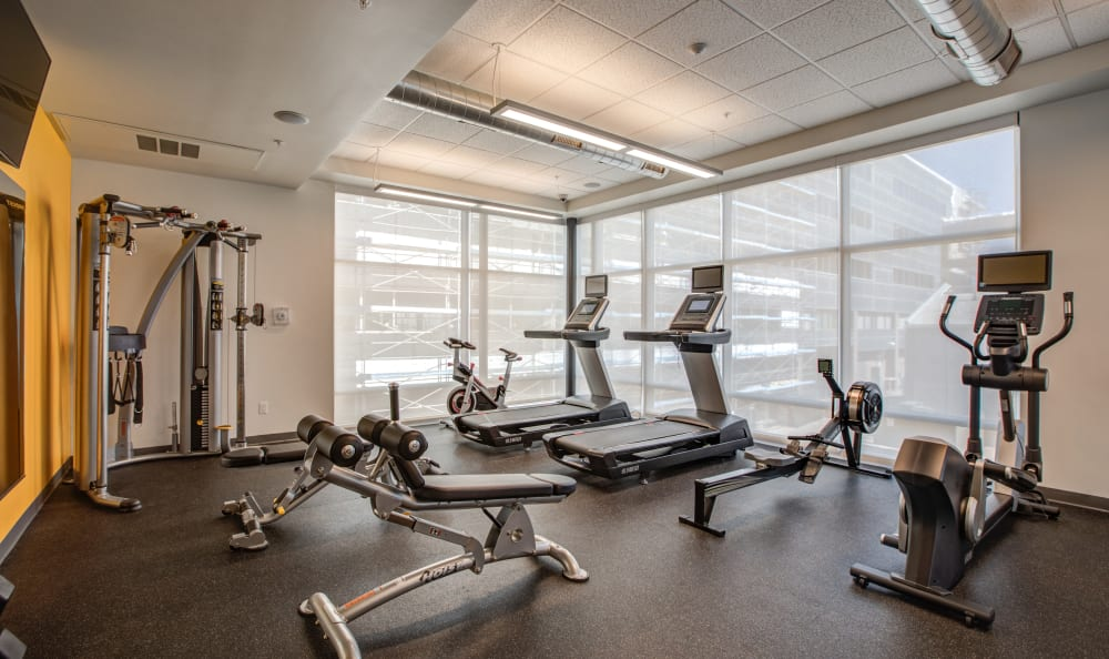 Fitness center with a view at RiDE at RiNo in Denver, Colorado