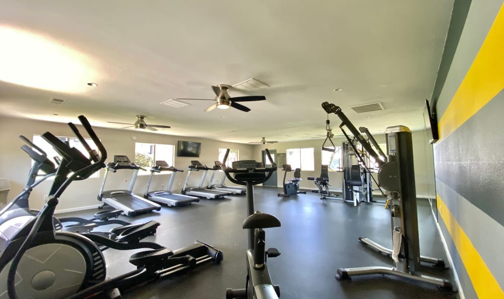 Exercise equipment in open floor plan fitness center at Country Hills Apartment Homes in Corona, CA