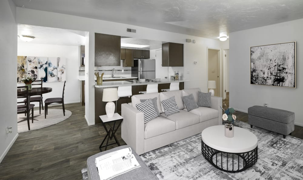 Living room floor plan layout at Windgate Apartments