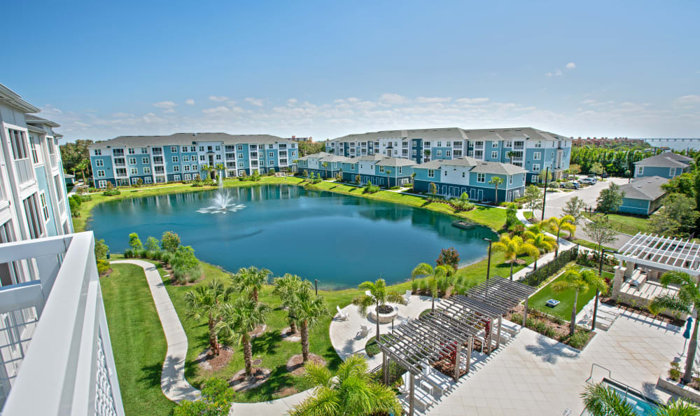 Beautiful aerial view of apartments at Vue at Belleair in Clearwater, Florida