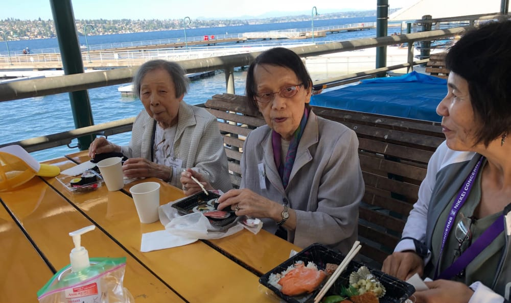 A few residents eating out near Nikkei Manor in Seattle, Washington