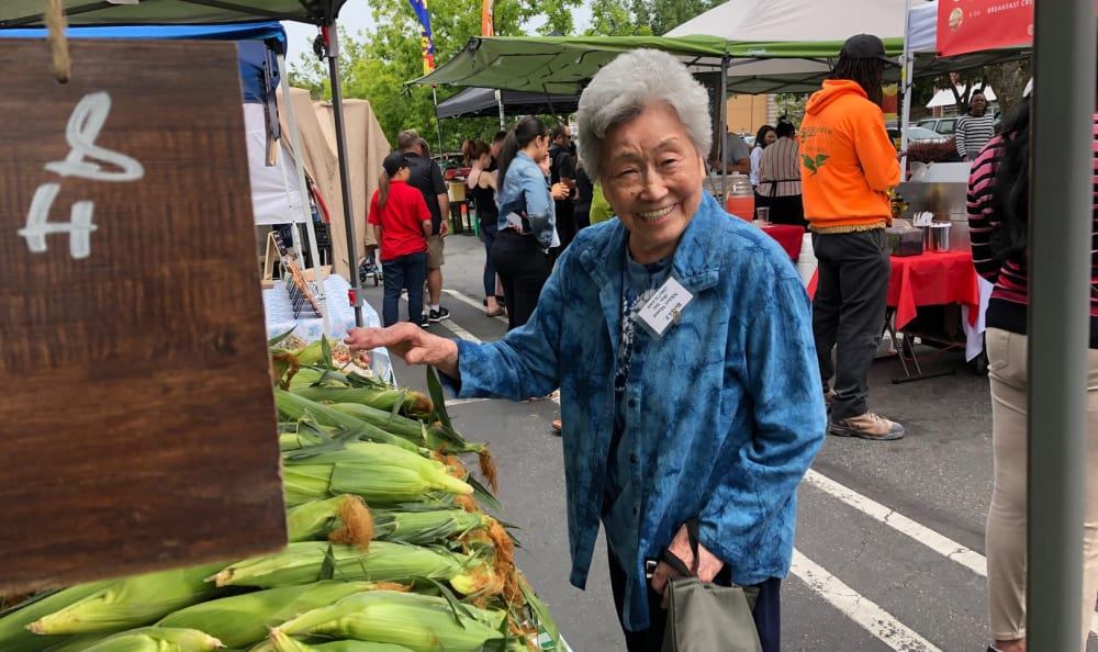 A resident at the market near Nikkei Manor in Seattle, Washington