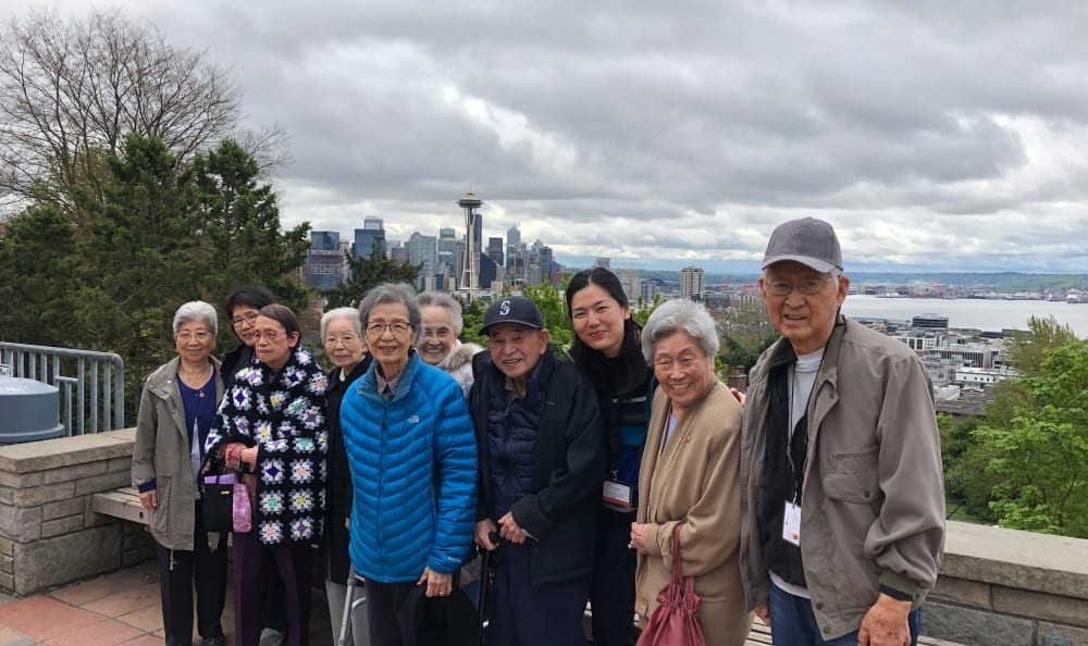 A group of residents on a trip near Nikkei Manor in Seattle, Washington
