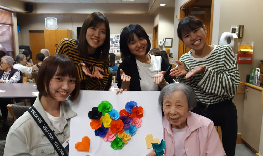 A group of ladies doing arts and crafts at Nikkei Manor in Seattle, Washington