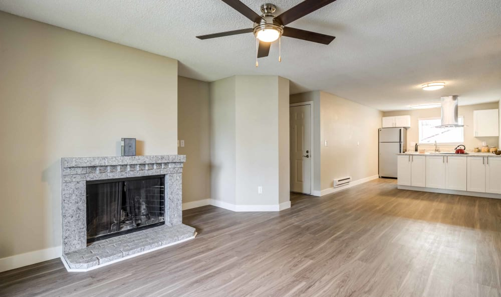 Our Apartments in Burien, Washington offer a Living Room with a Fireplace