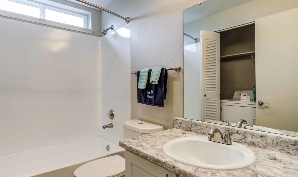 Bathroom at Discovery Landing Apartment Homes in Burien, Washington