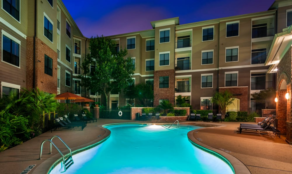 Beautiful pool at night at Residences at the Triangle in Austin, Texas