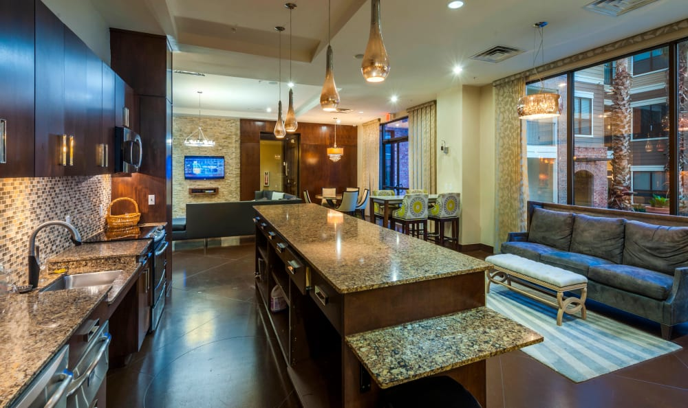 Community kitchen at Residences at the Triangle in Austin, Texas