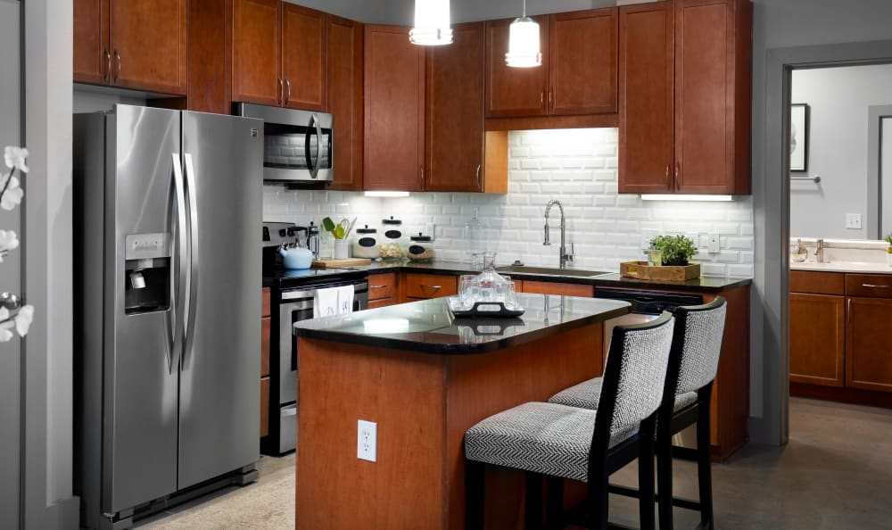 High end stainless steel appliances at Residences at the Triangle in Austin, Texas