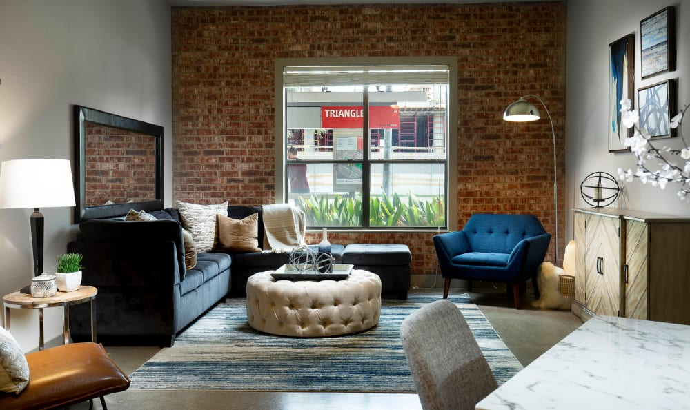 Brick accent wall at Residences at the Triangle in Austin, Texas