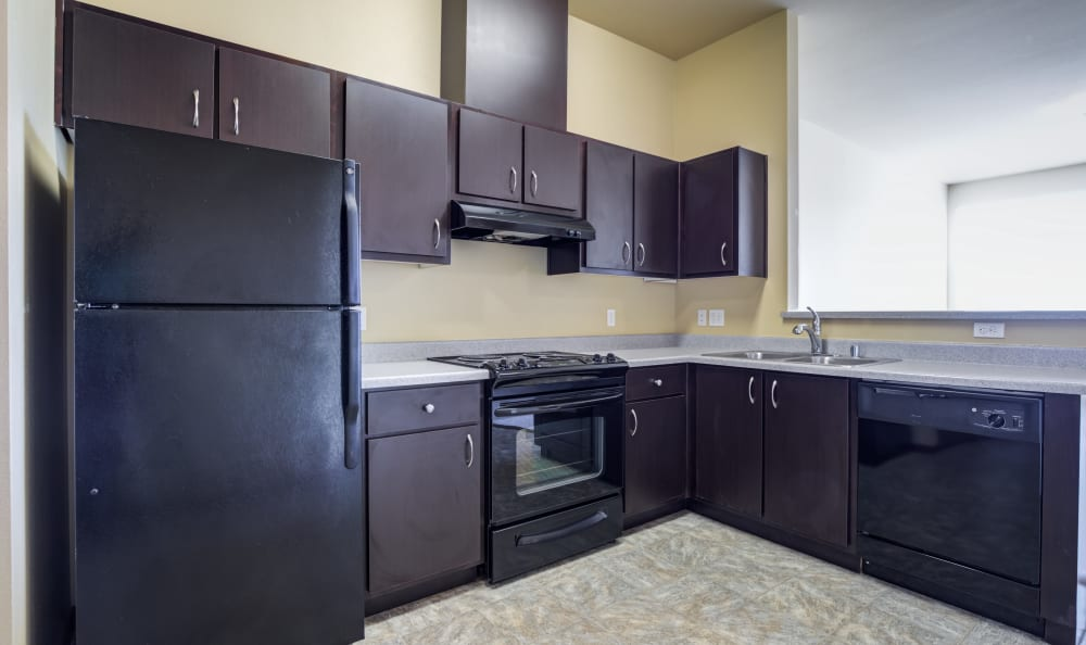Beautiful kitchen with black appliances and dark wood cabinets at Lumen Apartments in Everett, Washington