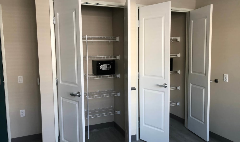 Closets in a bedroom at HOLI Senior Living in Hillsboro, OR