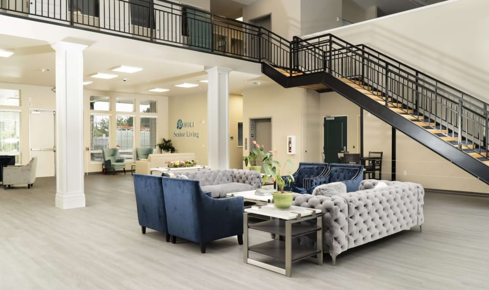 Lobby entrance with seating at HOLI Senior Living in Hillsboro, OR