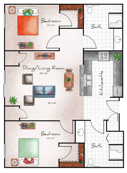 Two Bed / Two Bath, 1084 SF NET floor plan