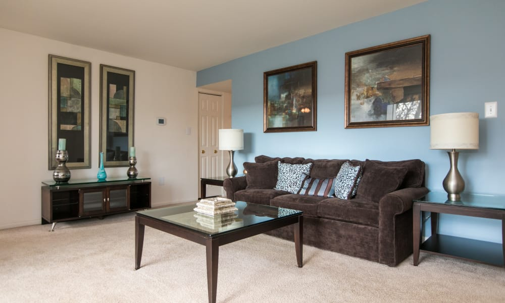 Skylark Pointe Apartment Homes offers a spacious living room in Parkville, Maryland