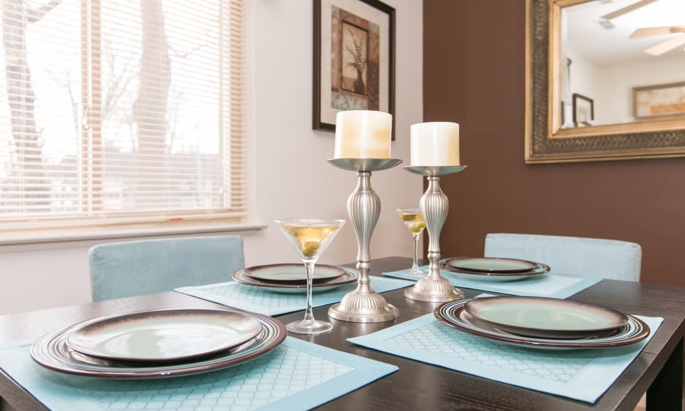 Dining table at Skylark Pointe Apartment Homes in Parkville, Maryland