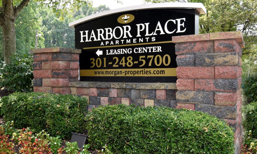 Welcome sign at Harbor Place Apartment Homes in Fort Washington, Maryland