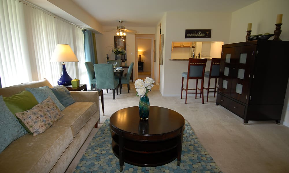 Harbor Place Apartment Homes offers a beautiful living room in Fort Washington, Maryland