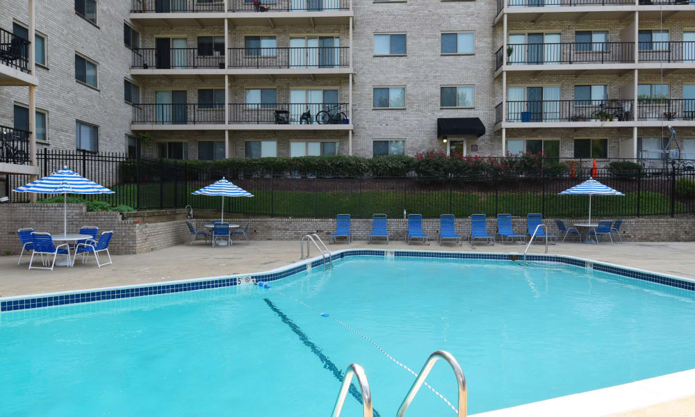 Swimming pool at apartments in Hyattsville, Maryland