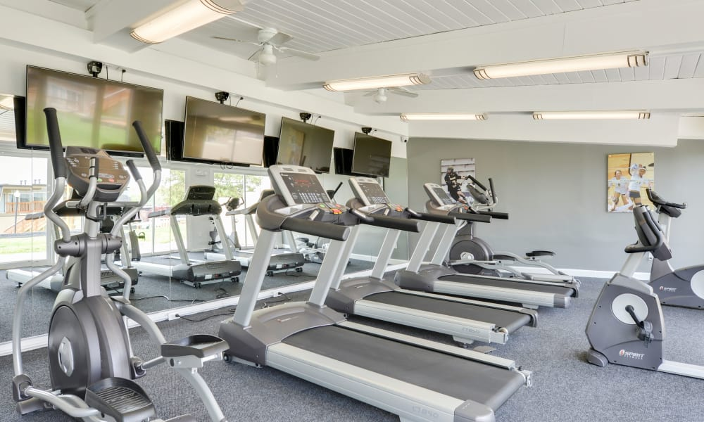 Fitness center at The Colony at Towson Apartments & Townhomes in Towson, Maryland